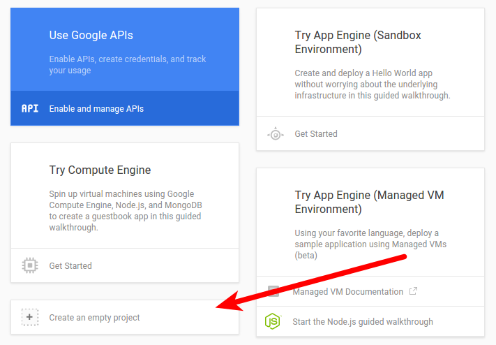 Create new Google Console project